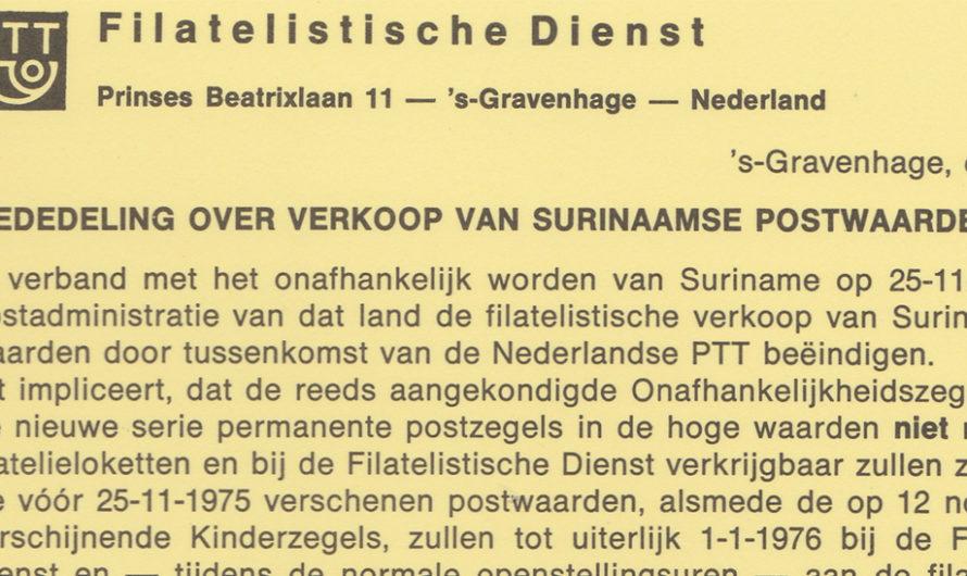 Verkoop laatste Surinaamse postzegels door Nederlandse PTT
